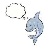 αστείος καρχαρίας κινούμενων σχεδίων με τη σκεπτόμενη φυσαλίδα Στοκ φωτογραφία με δικαίωμα ελεύθερης χρήσης
