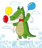 Αστείος κροκόδειλος με τα μπαλόνια Στοκ Εικόνα