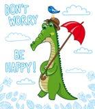 αστείος κροκόδειλος με το πουλί και την ομπρέλα Στοκ φωτογραφίες με δικαίωμα ελεύθερης χρήσης