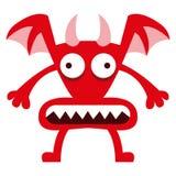 Αστείος κόκκινος χαρακτήρας δαιμόνων κινούμενων σχεδίων που απομονώνεται Στοκ φωτογραφίες με δικαίωμα ελεύθερης χρήσης