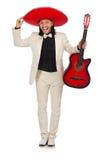 Αστείος μεξικανός στην κιθάρα εκμετάλλευσης κοστουμιών που απομονώνεται επάνω Στοκ Εικόνες