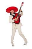 Αστείος μεξικανός στην κιθάρα εκμετάλλευσης κοστουμιών που απομονώνεται επάνω Στοκ Εικόνα