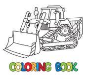 Αστείος μικρός εκσακαφέας με τα μάτια γραφική απεικόνιση χρωματισμού βιβλίων ζωηρόχρωμη ελεύθερη απεικόνιση δικαιώματος