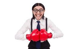 Αστείος νέος επιχειρηματίας με τα εγκιβωτίζοντας γάντια που απομονώνεται Στοκ Φωτογραφίες
