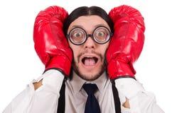 Αστείος νέος επιχειρηματίας με τα εγκιβωτίζοντας γάντια που απομονώνεται Στοκ Εικόνες