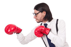 Αστείος νέος επιχειρηματίας με τα εγκιβωτίζοντας γάντια που απομονώνεται Στοκ Φωτογραφία