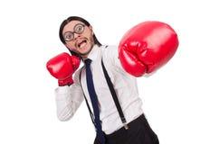 Αστείος νέος επιχειρηματίας με τα εγκιβωτίζοντας γάντια Στοκ Εικόνες