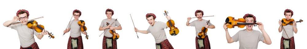 Αστείος ο scotsman με το βιολί στο λευκό Στοκ φωτογραφία με δικαίωμα ελεύθερης χρήσης