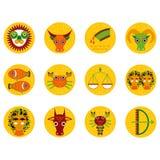 Αστείος πορτοκαλής zodiac καθορισμένος αστρολογικός εικονιδίων σημαδιών, απεικόνιση Στοκ Εικόνες