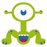 Αστείος πράσινος χαρακτήρας τεράτων κινούμενων σχεδίων που απομονώνεται Στοκ φωτογραφία με δικαίωμα ελεύθερης χρήσης