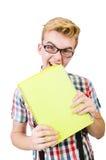 Αστείος σπουδαστής με τα βιβλία που απομονώνεται Στοκ Φωτογραφία