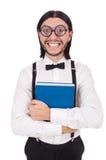 Αστείος σπουδαστής με τα βιβλία που απομονώνεται Στοκ Φωτογραφίες
