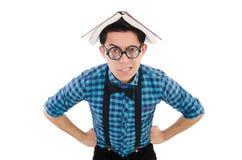 Αστείος σπουδαστής με τα βιβλία Στοκ Φωτογραφία