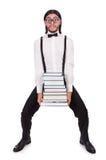 Αστείος σπουδαστής με τα βιβλία Στοκ εικόνα με δικαίωμα ελεύθερης χρήσης