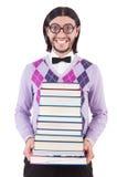 Αστείος σπουδαστής με τα βιβλία Στοκ Φωτογραφίες