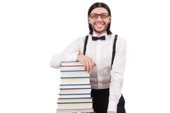 Αστείος σπουδαστής με τα βιβλία Στοκ Εικόνες