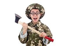 Αστείος στρατιώτης με το τσεκούρι Στοκ φωτογραφία με δικαίωμα ελεύθερης χρήσης
