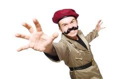 Αστείος στρατιώτης σε στρατιωτικό Στοκ Φωτογραφίες