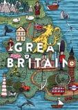 Αστείος σχεδιαζόμενος χέρι χάρτης της Μεγάλης Βρετανίας κινούμενων σχεδίων με τις περισσότερες δημοφιλείς θέσεις ενδιαφέροντος διανυσματική απεικόνιση