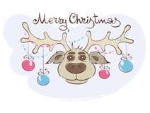 Αστείος τάρανδος Χριστουγέννων Στοκ Εικόνες