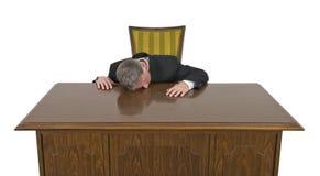 Αστείος τρυπημένος ύπνος στον επιχειρηματία εργασίας που απομονώνεται Στοκ φωτογραφία με δικαίωμα ελεύθερης χρήσης