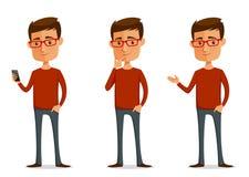 Αστείος τύπος κινούμενων σχεδίων με τα γυαλιά Στοκ Εικόνες