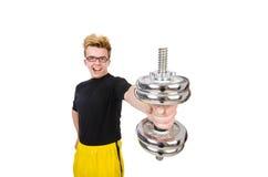 Αστείος τύπος με τα dumbbels Στοκ φωτογραφία με δικαίωμα ελεύθερης χρήσης