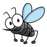 Αστείος χαμογελώντας γκρίζος χαρακτήρας κινουμένων σχεδίων κουνουπιών διανυσματική απεικόνιση