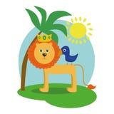 Αστείος χαρακτήρας κινουμένων σχεδίων ο βασιλιάς λιονταριών με μια πουλί-απεικόνιση ενός παιδιού διανυσματική απεικόνιση
