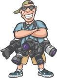 Αστείος χαρακτήρας κινουμένων σχεδίων - ευτυχής φωτογράφος με τα μέρη της κάμερας διανυσματική απεικόνιση