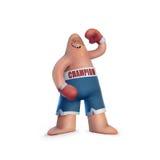 Αστείος χαρακτήρας κινουμένων σχεδίων, μπόξερ, εγκιβωτίζοντας πρωτοπόρος Στοκ Φωτογραφία