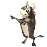 Αστείος χαρακτήρας κινουμένων σχεδίων του Bull Στοκ Εικόνες