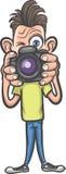 Αστείος χαρακτήρας κινουμένων σχεδίων - φωτογράφος που κάνει τις εικόνες ελεύθερη απεικόνιση δικαιώματος