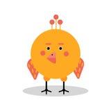 Αστείος χαρακτήρας κοτόπουλου κινούμενων σχεδίων στη γεωμετρική διανυσματική απεικόνιση μορφής Στοκ Φωτογραφίες