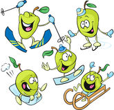 Αστείος χαρακτήρας μήλων - χειμερινό απομονωμένο αθλητισμός διάνυσμα στο λευκό Στοκ Εικόνες