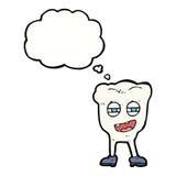αστείος χαρακτήρας δοντιών κινούμενων σχεδίων με τη σκεπτόμενη φυσαλίδα Στοκ Εικόνες