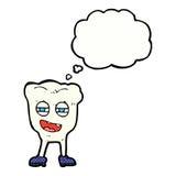 αστείος χαρακτήρας δοντιών κινούμενων σχεδίων με τη σκεπτόμενη φυσαλίδα Στοκ εικόνες με δικαίωμα ελεύθερης χρήσης