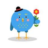 Αστείος χαρακτήρας πουλιών κινούμενων σχεδίων που στέκεται με το λουλούδι, μπλε πουλί στη γεωμετρική διανυσματική απεικόνιση μορφ Στοκ Φωτογραφία