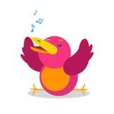 Αστείος χαρακτήρας πουλιών κινούμενων σχεδίων που τραγουδά τη διανυσματική απεικόνιση Στοκ Εικόνες