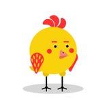Αστείος χαρακτήρας πουλιών κοτόπουλου στη γεωμετρική διανυσματική απεικόνιση μορφής Στοκ Εικόνα
