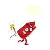 αστείος χαρακτήρας πυροτεχνημάτων κινούμενων σχεδίων με τη λεκτική φυσαλίδα Στοκ Εικόνα
