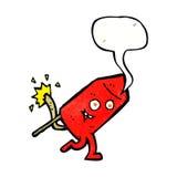 αστείος χαρακτήρας πυροτεχνημάτων κινούμενων σχεδίων με τη λεκτική φυσαλίδα Στοκ Εικόνες