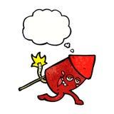 αστείος χαρακτήρας πυροτεχνημάτων κινούμενων σχεδίων με τη σκεπτόμενη φυσαλίδα Στοκ Φωτογραφίες