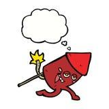 αστείος χαρακτήρας πυροτεχνημάτων κινούμενων σχεδίων με τη σκεπτόμενη φυσαλίδα Στοκ Εικόνες