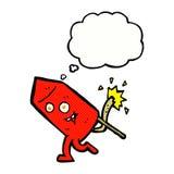 αστείος χαρακτήρας πυροτεχνημάτων κινούμενων σχεδίων με τη σκεπτόμενη φυσαλίδα Στοκ φωτογραφία με δικαίωμα ελεύθερης χρήσης