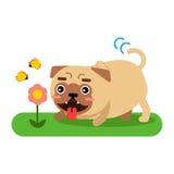 Αστείος χαρακτήρας σκυλιών μαλαγμένου πηλού που περπατά στη διανυσματική απεικόνιση πάρκων Στοκ Φωτογραφία