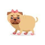 Αστείος χαρακτήρας σκυλιών μαλαγμένου πηλού στο ρόδινο τόξο και τη διανυσματική απεικόνιση παπουτσιών Στοκ Εικόνες