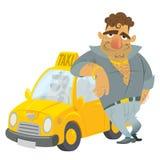 Αστείος χαρακτήρας ταξιτζήδων κινούμενων σχεδίων με το κίτρινο αμάξι του Στοκ φωτογραφία με δικαίωμα ελεύθερης χρήσης