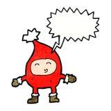αστείος χαρακτήρας Χριστουγέννων κινούμενων σχεδίων με τη λεκτική φυσαλίδα Στοκ Φωτογραφία