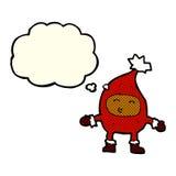 αστείος χαρακτήρας Χριστουγέννων κινούμενων σχεδίων με τη σκεπτόμενη φυσαλίδα Στοκ Εικόνες